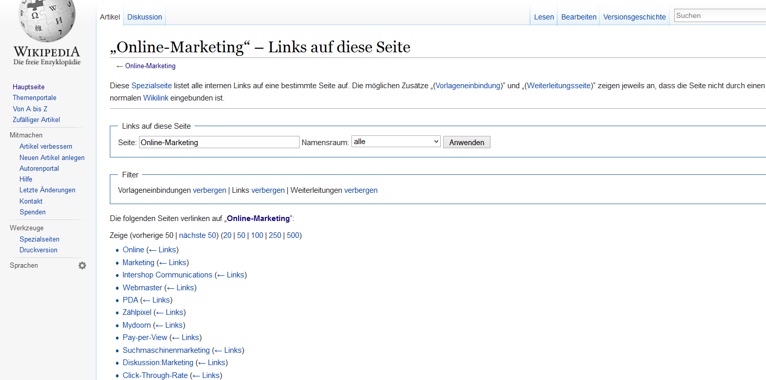 Backlinks Wikipedia