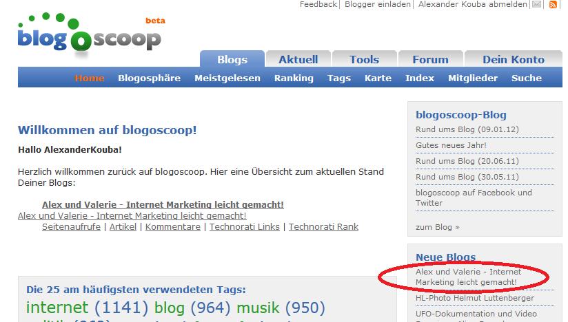 Blogverzeichnisse blogoscoop